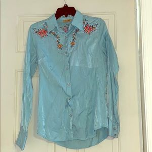 Turquoise floral pearl snap button up size small